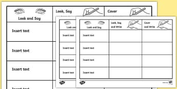 Look, Cover, Write, Check Template - look, say, cover, writing, editable, edit, activity, handwriting, template, worksheet