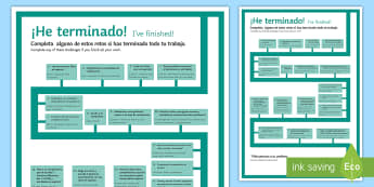Early Finishers Challenges Display Poster Spanish  - Spanish, Vocabulary, early, finishers, challenges, display, poster