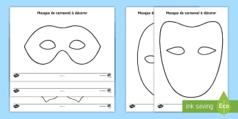 Carnival Make Your Own Mask Activity Sheet French - mardi gras, festivities, events, France, costumes, party, festival