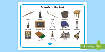 KS1 Schools in the Past Word Mat - Old, Writing Aid, Teaching, History, Now and Then