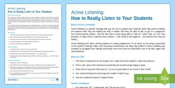 Active Listening for Behaviour Management Adult Guidance - Behave, behaviour management, classroom management, active listening, counselling
