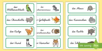 Haustiere Wort- und Bildkarten - Tiere, Haustier, Sachkunde, Pflege, Vokabeln, ,German
