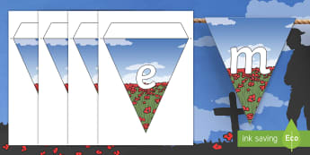 Remembrance Day Display Bunting - poppy, memorial, World War 1, Canada, remember