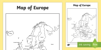 Map of Europe With and Without Names - geography, europe map