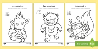 Coloriage magique : Les monstres - Coloriage magique, monstres, couleurs, nombres, coloriage, coloriage et numération, Monsters Colour