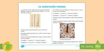Hoja informativa: La numeración romana - números romanos, romana, numeración, cifras, información, explicación, leer, lectura, mates, mat