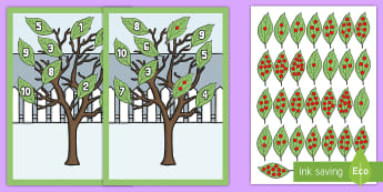 Numbers 1-10 Tree Themed Matching Game  - family tree, counting, game,countng,couting, Family's, coutning, eyfa, xounting, 1-10 counting, num