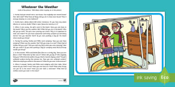 Whatever the Weather Oral Language Activity - Exploring my world, sun, rain, wind, snow, seasons, clothes, aistear, literacy, oral langage, readin