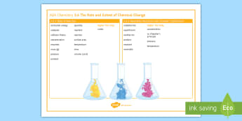 AQA Chemistry 5.6 The Rate and Extent of Chemical Change Word Mat - AQA, GCSE, Chemistry, rate of reaction, reaction, activation energy, collision theory, endothermic,