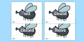 Tricky Words on Flies - Tricky words, DfES Letters and Sounds, Letters and sounds, display, words