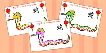 Year of the Snake 0-10 Number Line - chinese new year, numberline