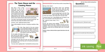 KS1 The Town Mouse and the Country Mouse Differentiated Comprehension Go Respond  Activity Sheets - Develop pleasure in reading, motivation to read, vocabulary and understanding, Understand what they
