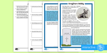 Greyfriars Bobby Differentiated Comprehension Go Respond  Worksheet / Activity Sheets - People, Past Events and Societies, The Victorians,  analysing and evaluating, Comprehension, greyfri