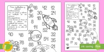 Ficha de tirar el dado y colorear: Multiplicación - Espacio - espacio, multiplicar, tirar dados, colorear, colorea, ficha, colores, operaciones, cálculo, mates,