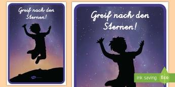 Greif nach den Sternen motivierendes Poster für die Klassenraumgestaltung - Motivation, Inspiration, Lernen, Klassenzimmer, Dekoration,,German