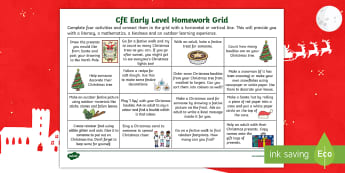 Early Level Christmas CfE Homework Grid - homework, festive, maths, literacy, outdoor, outdoor learning