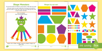 Shape Monsters! Activity Sheet - NI KS1 Numeracy, 2D shapes, monsters, practical maths, creative, play, cut and stick, Worksheet