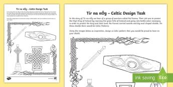Tír na nÓg Celtic Pattern Design Activity Sheet - Tír na nÓg , myths and legends, art, Celtic, patterns, shields, warriors, Na Fianna, History, desi