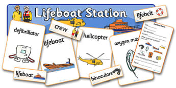 Lifeboat Station Role Play Pack - Life boat Role Play, life boat resources, Role Play Pack - role play, Display signs, display, labels, packseaside, seaside rescue, power boat, first aid, people who help us, role play, display, poster