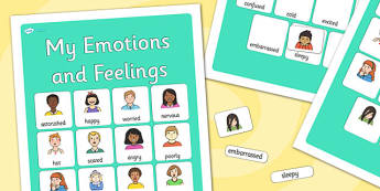 My Emotions and Feelings Vocabulary Poster - emotions, feelings, display posters, themed posters, images, pictures, key words, emotions feelings vocabulary