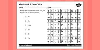 Multiplication 3 Times Tables Wordsearch Worksheet - multipilcation, 3 times tables, times tables, wordsearch, worksheet, numeracy, maths, times, tables