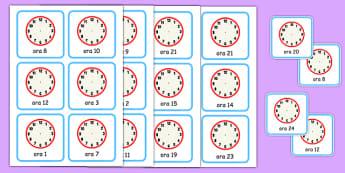 Scrie cât e ora - Cartonașe - cât e ora, ceas, timp, oră, unități de măsură pentru timp, cartonașe, materiale, materiale didactice, română, romana, material, material didactic