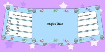 Angles PowerPoint Quiz - angles, powerpoint, quiz, math, numeracy