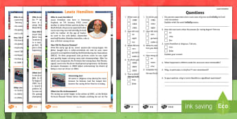 KS1 Lewis Hamilton Black History Month Differentiated Reading Comprehension Activity - Significant Individual, Male, Formula One, Racing Driver, Champion