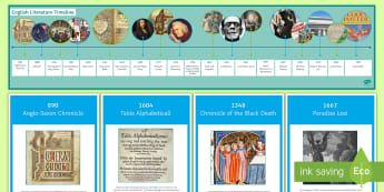 English Literature Through the Ages Display Timeline - Gothic, frankenstein, jekyll, hyde, poe, shelley, JK Rowling, Orwell,