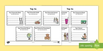 Top 5s Ranking Favourites Activity Sheet English/Portuguese - Top 5s Ranking Favourites Activity Sheet - Ranking, favourites, new class, getting to know you, pref