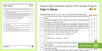 Edexcel Style Waves Progress Sheet - amplitude, frequency, refraction, reflection, period, GCSE, revision, self assess, self assessment