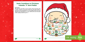 Santa Countdown to Christmas Calendar S Word Medial Activity Sheet - speech, word level, sentence level, s in middle of words, articulation , worksheet