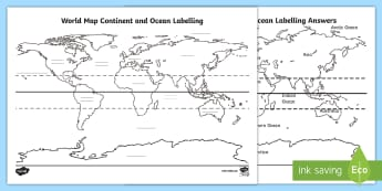 * NEW * World Map Continent and Ocean Labelling Activity Sheet - World Map Continent and Ocean Labelling Activity Sheet - world, map, poster, display, world map, lan
