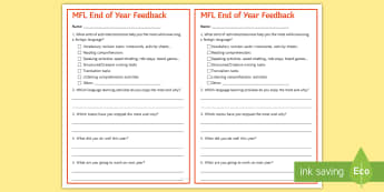End-of-Year Feedback Questionnaire Cards - survey, modern, foreign, languages, reflexion, assessment, observation
