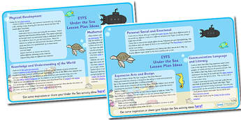 Under The Sea Lesson Plan and Enhancement Ideas EYFS - EYFS, ocean, lesson ideas