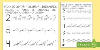 Ficha para contar y colorear: Los dinosaurios - Dinosaurios, pre-historia, dinos, tiranosaurio, estegosaurio, triceratops, proyectos, aprendizaje ba