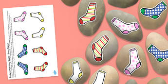 Pattern Matching Socks Story Stone Image Cut Outs - pattern matching socks, story stone, image, cut outs