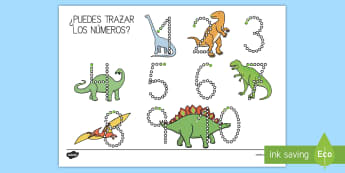 Fichas de formación de números 1-10 de dinosaurios Ficha de actividad - Dinosaurios, pre-historia, dinos, tiranosaurio, estegosaurio, triceratops, proyectos, aprendizaje ba