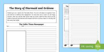 The Story of Diarmuid and Gráinne Newspaper Writing Activity Sheet - Myths, Legends, Irish Tales, Celtic, The Fianna,Irish, worksheet