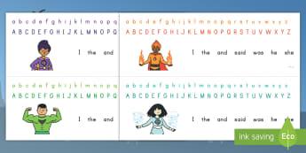 Superhero Alphabet Strips - alphabet, superhero, literacy, spelling, letter formation, visual aid, reading, a to z,