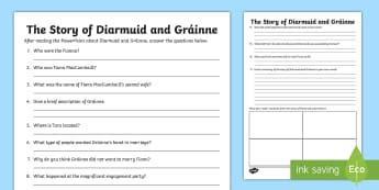 The Story of Diarmuid and Gráinne Worksheet / Activity Sheet - Celtic, Irish Tales, Irish Stories, Fionn, The Fianna,Irish