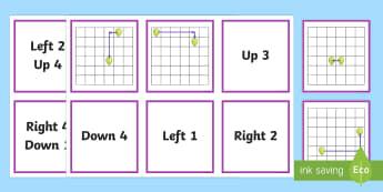 Sliding Translations Matching Cards - Position, direction, translations.