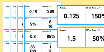 Fractions, Decimals and Percentages I Have, Who Has Game - fractions, loop