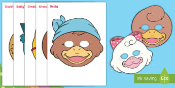 Brenda's Boring Egg Role-Play Masks - duck, ducks, duckling, hatching, life cycle, KS1, EYFS, Role-play resources, story re-telling, Drama