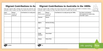 Migrant Contributions to Australia (1800s) Differentiated Activity Sheet - history, geography, migration, migrate, stories, colony, convicts, worksheet