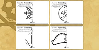 Pirate Symmetry Worksheets - pirate, symmetry, worksheets, sheet
