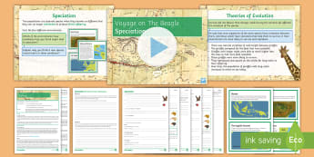 Science Week: Voyage on the Beagle Lesson 3 (Separate Science) - Speciation  - natural selection, geographilcal isolation, survival of the fittest, darwin, wallace, evolution