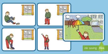 Tarjetas de secuenciar de cuento: Día de lluvia - lluvia, ordenar, secuencia, dia de lluvia, que llueva, Spanish