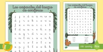 Sopa de letras: Los animales del bosque de coníferas - animales, clasificación, donde viven, hábitats, grupos