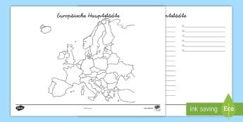 arbeitsblatt europa länder und hauptstädte